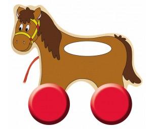 Velkams zirgs ar rokturi