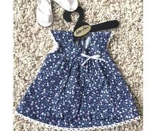 Lelles kleita - puķaina, zila