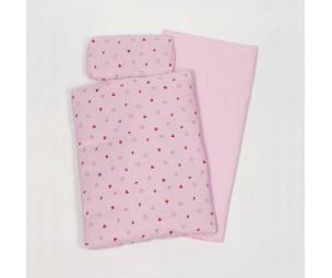 Leļļu gultasveļas komplekts. rozā